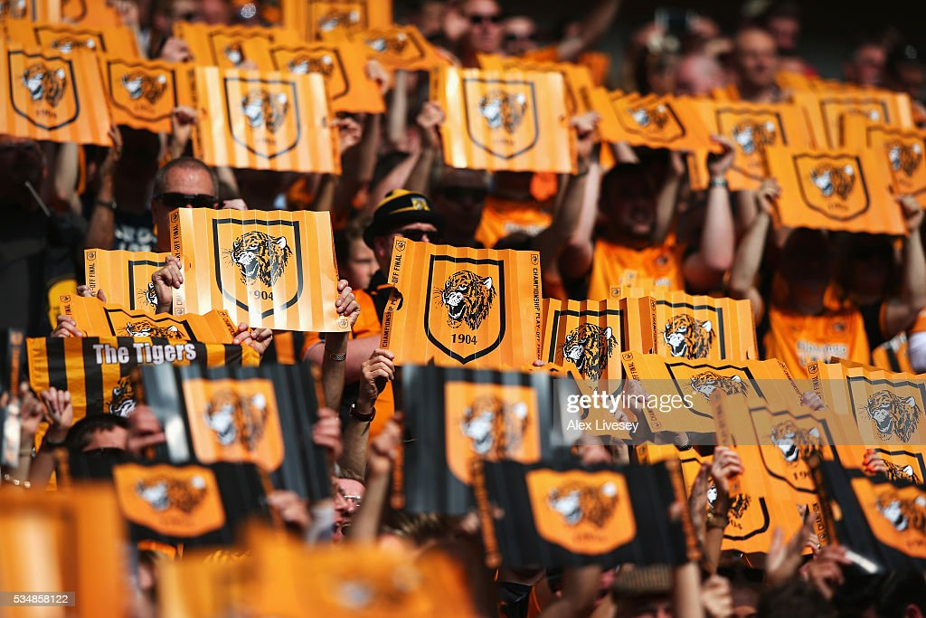 Hull City supporters enjpy the atmosphere prior to Sky Bet Championship Play Off Final match between Hull City and Sheffield Wednesday at Wembley Stadium on May 28, 2016 in London, England.