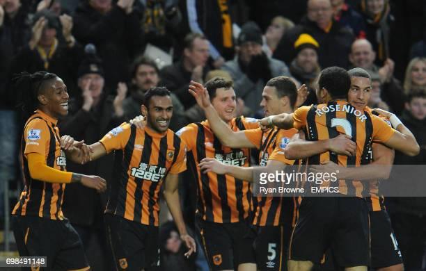 Hull City's Ahmed Elmohamady celebrates his goal with team mates