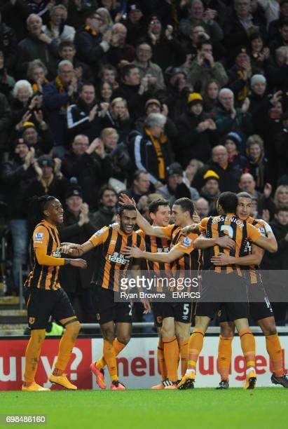 Hull City's Ahmed Elmohamady celebrates his opening goal with teammates