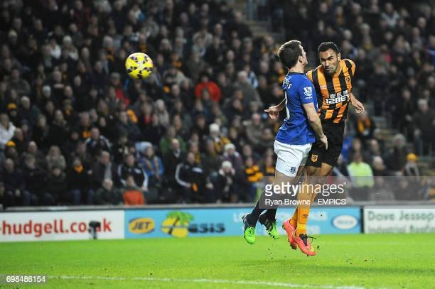 Hull City's Ahmed Elmohamady scores the opening goal