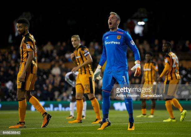 Hull City's Allan McGregor in action during the Sky Bet Championship match between Fulham and Hull City at Craven Cottage on September 13 2017 in...