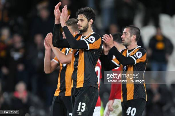 Hull City's Andrea Ranocchia applauds the fans after the Premier League match at the KCOM Stadium Hull