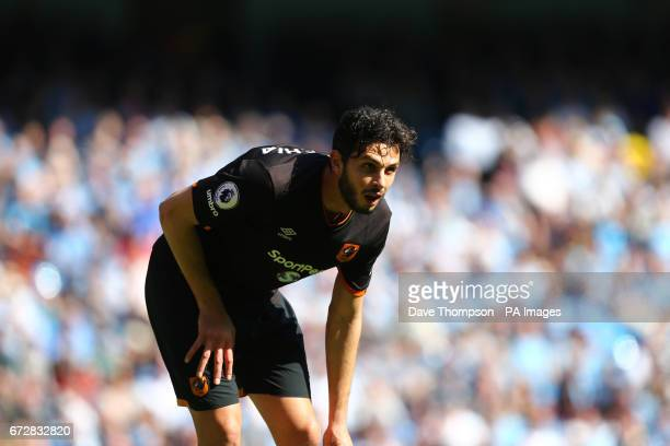 Hull City's Andrea Ranocchia during the Premier League match at the Etihad Stadium Manchester