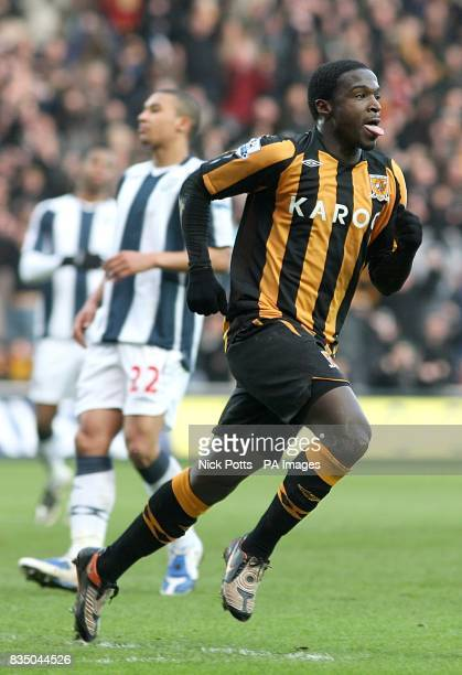 Hull City's Bernard Mendy celebrates after scoring the first goal