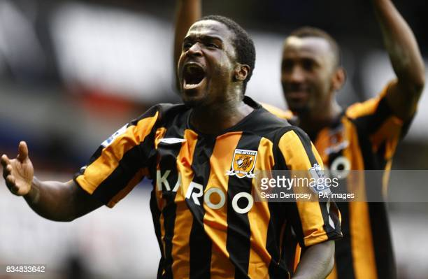 Hull City's Bernard Mendy celebrates after the final whistle