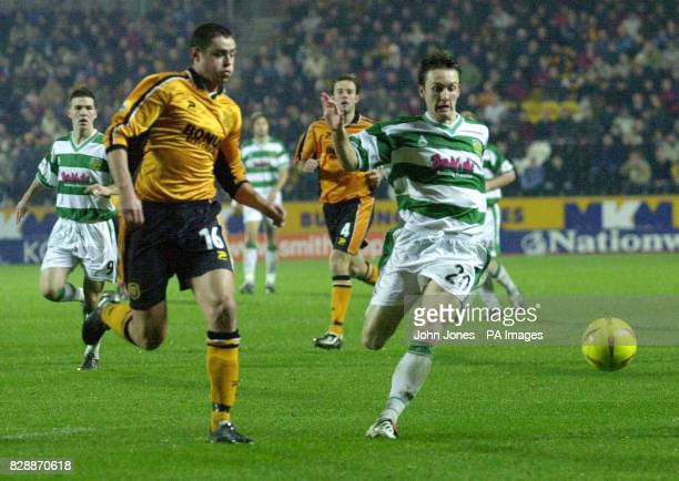 Hull City's Damien Delaney and Yeovil Town's Gavin Williams go for the ball during their Nationwide Division Three match at Hull's KC Stadium THIS...