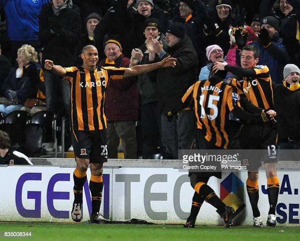 Hull City's Daniel Cousin celebrates scoring his sides first goal of the game with teammate Bernard Mendy