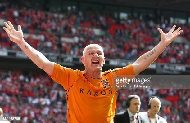Hull City's Dean Windass celebrates at the end of the game