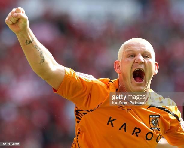 Hull City's Dean Windass celebrates winning the play offs
