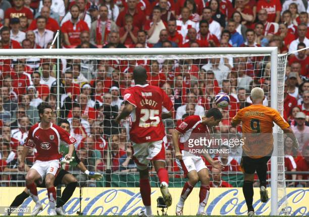 Hull City's Dean Windass shoots to score against Bristol City during the Football League Championship playoff final football match at Wembley Stadium...