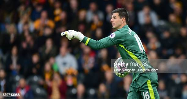 Hull City's Eldin Jakupovic during the Premier League match between Hull City and Sunderland at KCOM Stadium on May 6 2017 in Hull England