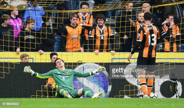 Hull City's Eldin Jakupovic left and Hull City's Andrea Ranocchia react after Sunderland's Jermain Defoe scored his sides second goal during the...