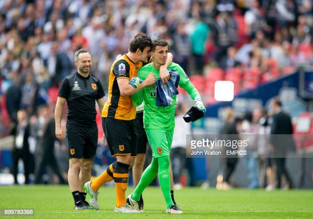 Hull City's Harry Maguire celebrates with goalkeeper Eldin Jakupovic
