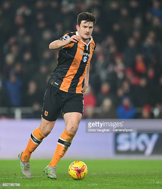 Hull City's Harry Maguire during the EFL Cup SemiFinal Second Leg match between Hull City v Manchester United at KCOM Stadium on January 26 2017 in...