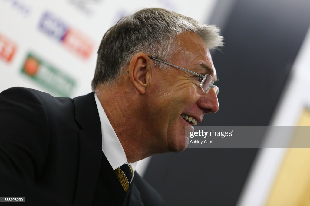 Hull City's head coach Nigel Adkins smiles during the post match press conference during the Sky Bet Championship match between Hull City and Brentford at KCOM Stadium on December 9, 2017 in Hull, England.