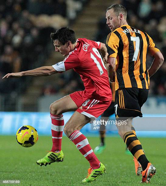 Hull City's Irish midfielder David Meyler is beaten by Southampton's English midfielder Jack Cork during the English Premier League football match...