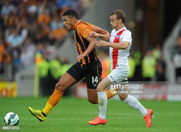 Hull City's Jake Livermore and Trencin's Stanislav Lobotka battle for the ball