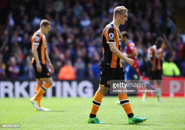 Hull City's Jarrod Bowen dejected as Crystal Palace's Patrick van Aanholt scores his sides fourth goal during the Premier League match between...