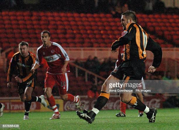 Hull City's Jon Parkin scores his teams second goal from the penalty spot