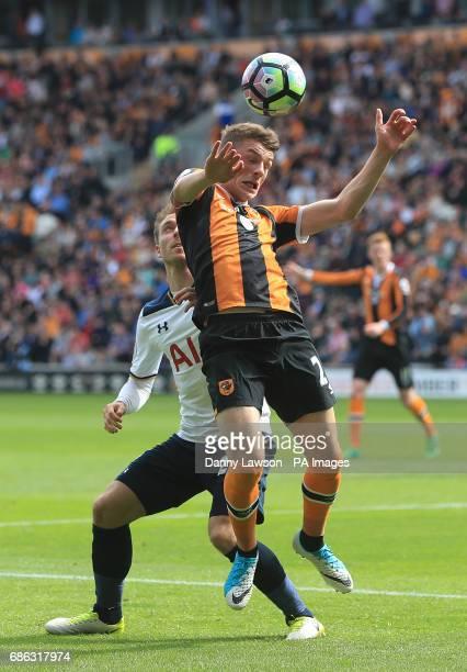 Hull City's Josh Tymon and Tottenham Hotspur's Christian Eriksen battle for the ball during the Premier League match at the KCOM Stadium Hull