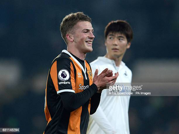 Hull City's Josh Tymon scorer of his team's second goal smiles at the final whistle during the Emirates FA Cup Third Round match at the KCOM Stadium...