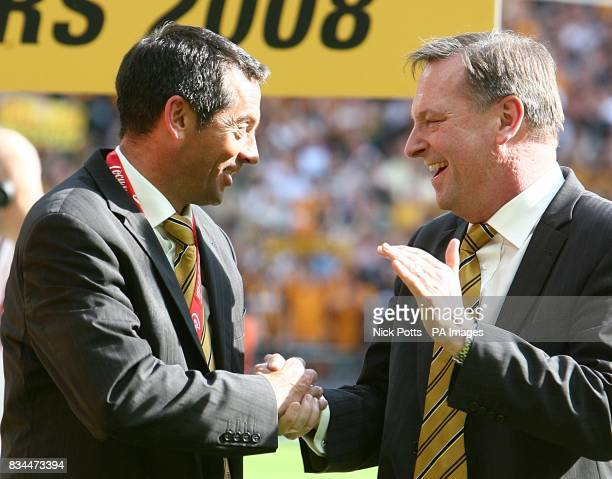 Hull City's manager Phil Brown and Chairman Paul Duffen celebrate winning the Championship play offs