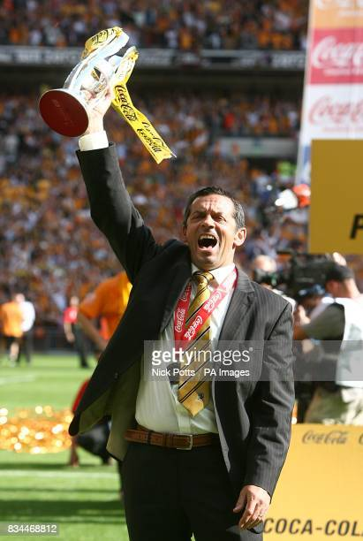 Hull City's manager Phil Brown celebrates with the Championship play off trophy