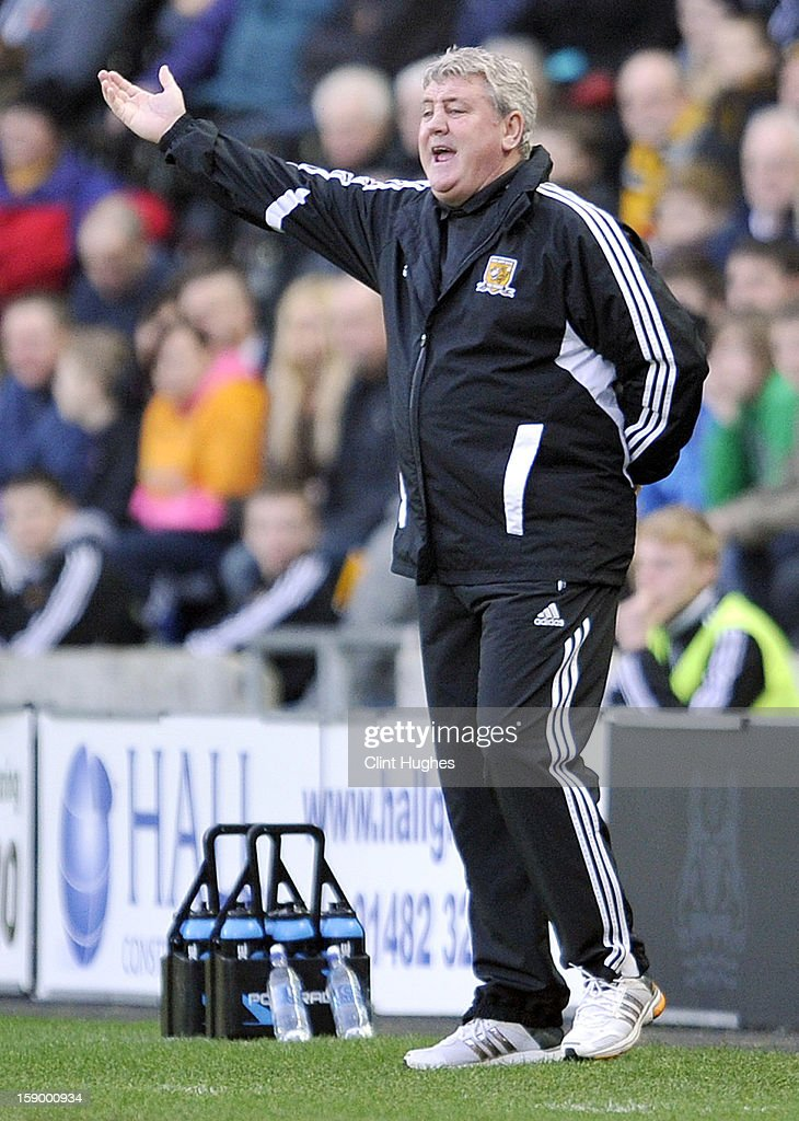 Hull City's manager Steve Bruce reacts on the touch line during the FA Cup with Budweiser Third Round match between Hull City and Leyton Orient at the KC Stadium on January 5, 2013 in Hull, England