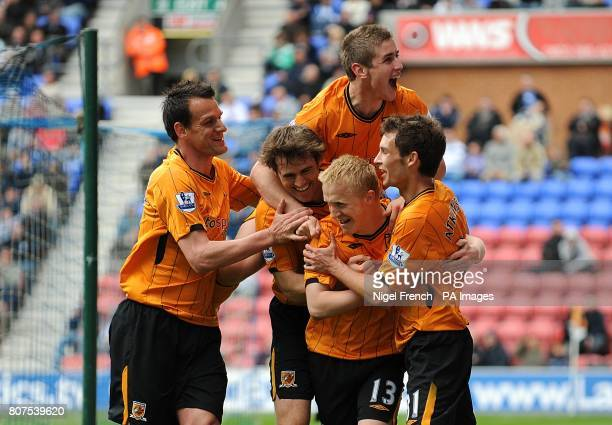Hull City's Mark Cullen celebrates with his teammates after scoring his sides second goal