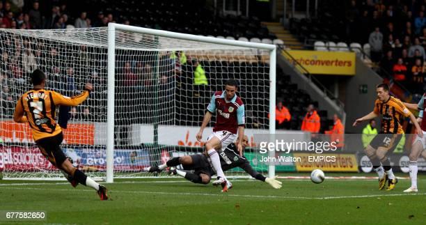 Hull City's Matty Fryatt scores the opening goal of the game past Burnley's goalkeeper Lee Grant