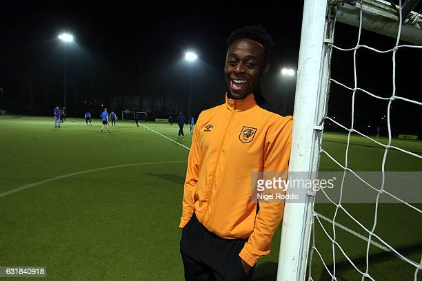 Hull City's Moses Odubajo attends Premier League Kicks Hero training session at the KCOM astro pitches on January 16 2017 in Hull England