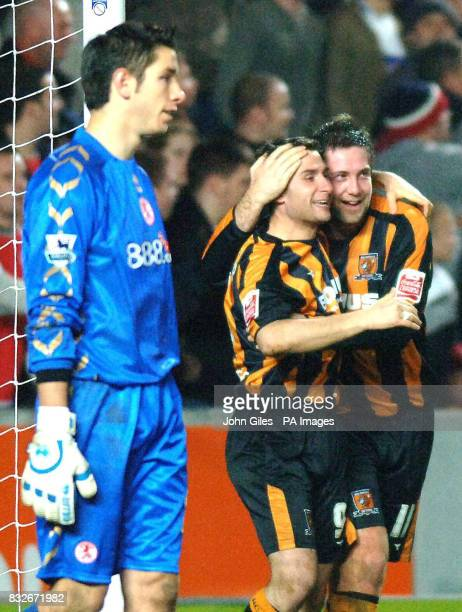 Hull City's Nicky Forster celebrates his equaliser with Jon Parkin against Middlesbrough during the FA Cup third round match at the KC Stadium Hull