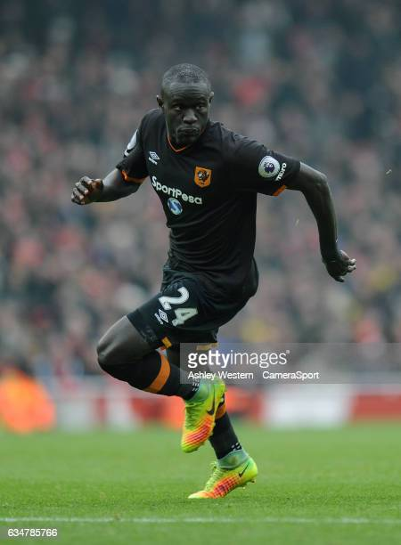 Hull City's Oumar Niasse in action during the Premier League match between Arsenal and Hull City at Emirates Stadium on February 11 2017 in London...