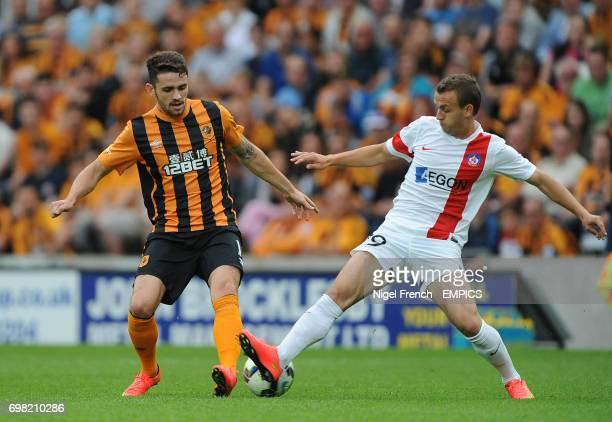 Hull City's Robbie Brady and Trencin's Stanislav Lobotka battle for the ball