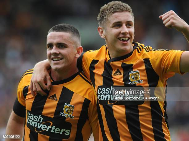 Hull City's Robert Brady celebrates with team mate Tom Cairney after scoring the opening goal of the game during the PreSeason Friendly match at the...