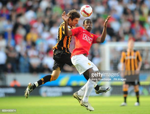Hull City's Samuel Ricketts and Manchester United's Danny Welbeck in action