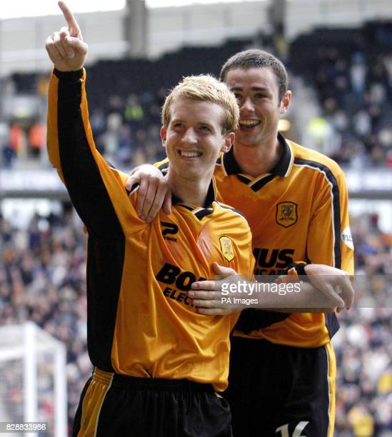 Hull City's Stuart Green celebrates scoring the third goal against Lincoln City with teammate Damien Delaney during their Nationwide Division Three...