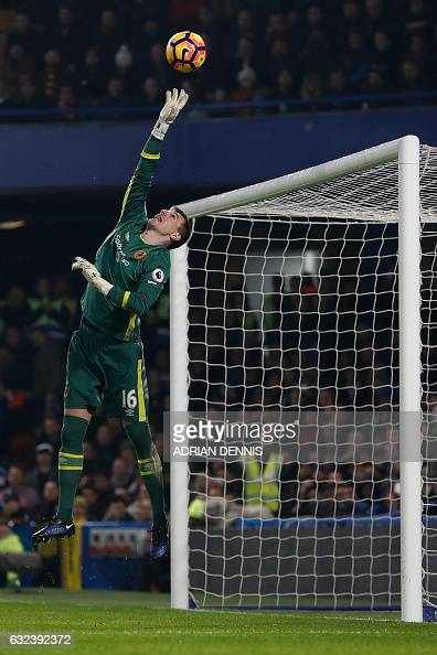 Hull City's Swiss goalkeeper Eldin Jakupovic makes a save during the English Premier League football match between Chelsea and Hull City at Stamford...