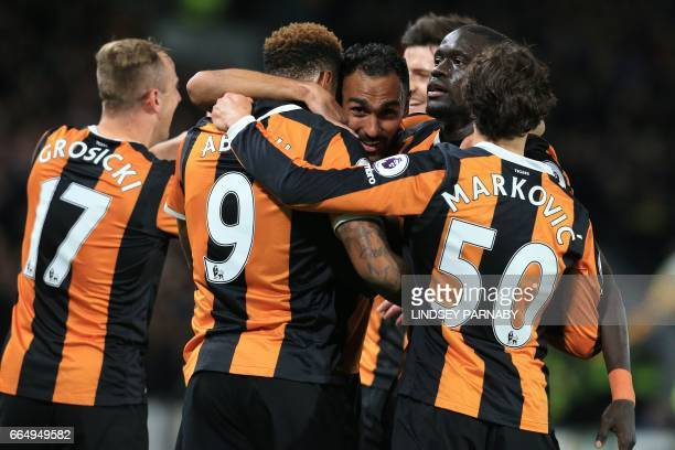 Hull City's Uruguayan striker Abel Hernandez celebrates scoring his team's third goal during the English Premier League football match between Hull...