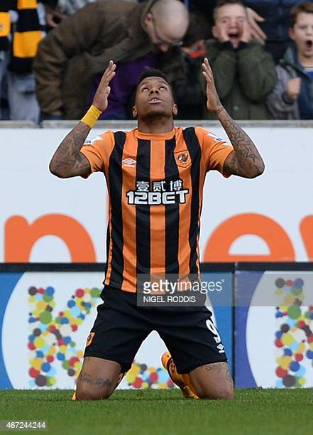 Hull City's Uruguayan striker Abel Hernandez celebrates scoring their second goal during the English Premier League football match between Hull City...