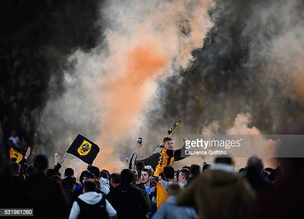 Hull fans celebrate making the playoff final during the Sky Bet Championship Play Off semi final second leg match between Hull City and Derby County...
