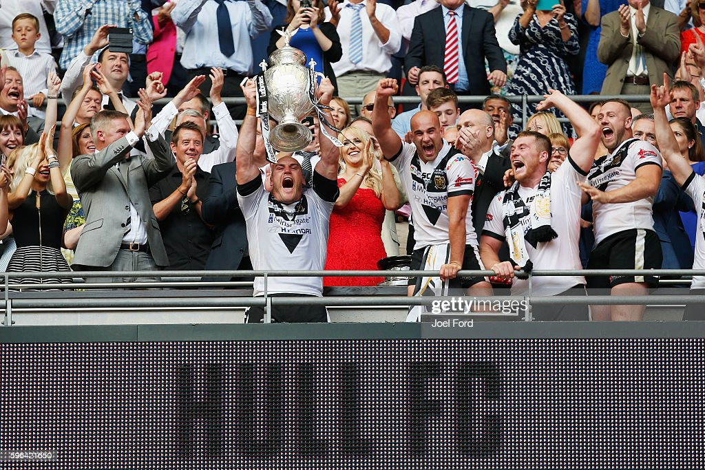 Hull FC captain Gareth Ellis holds aloft the Challenge Cup after winning the Ladbrokes Challenge Cup Final between Hull FC and Warrington Wolves at...