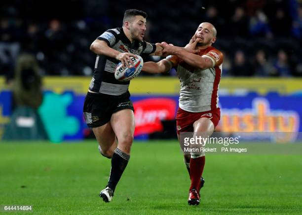 Hull FC's Chris Green and Catalans Dragons' Krisnan Inu during the Betfred Super League match at the KCOM Stadium Hull