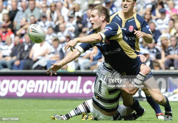 Hull FC's Lee Radford tackles Hull KR's Chaz I'Anson during the engage Super League match at the KC Stadium Hull