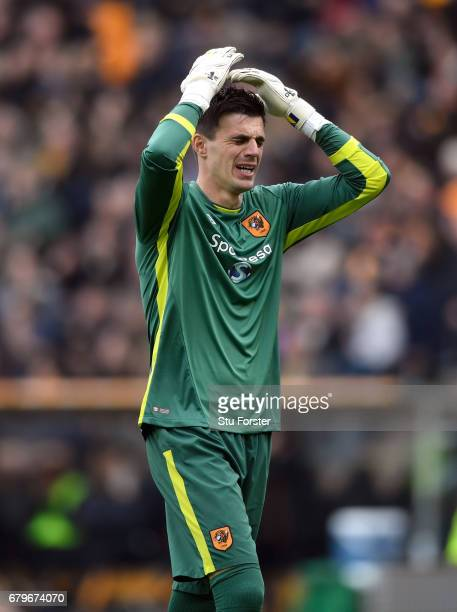 Hull goalkeeper Eldin Jakupovic reacts during the Premier League match between Hull City and Sunderland at KCOM Stadium on May 6 2017 in Hull England