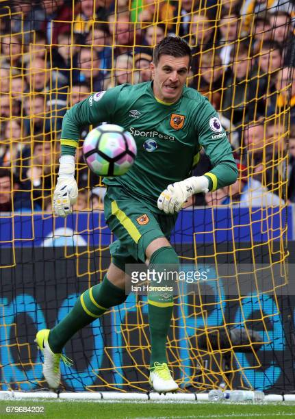 Hull keeper Eldin Jakupovic during the Premier League match between Hull City and Sunderland at KCOM Stadium on May 6 2017 in Hull England