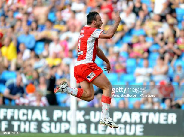 Hull Kingston Rovers' Josh Hodgson celebrates after scoring a try during the First Utility Super League Magic Weekend match at the Etihad Stadium...