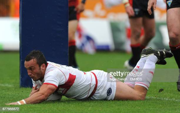 Hull Kingston Rovers' Josh Hodgson scores his sides first try of the game against the Warrington Wolves'