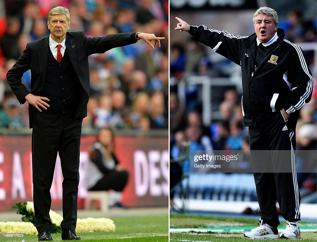 IMAGES - Image Numbers 484396221 (L) and 156583195) In this composite image a comparison has been made between Arsene Wenger Manager of Arsenal and Steve Bruce manager of Hull City.Arsenal and Hull City meet in the FA Cup Final on May 17,2014 at Wembley Stadium, London,England. BIRMINGHAM, ENGLAND - NOVEMBER 17: Hull manager Steve Bruce shouts instructions during the npower Championship match between Birmingham City and Hull City at St. Andrews on November 17, 2012 in Birmingham, England.