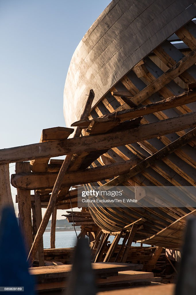 Hull of boat being built, Essaouira, Morocco